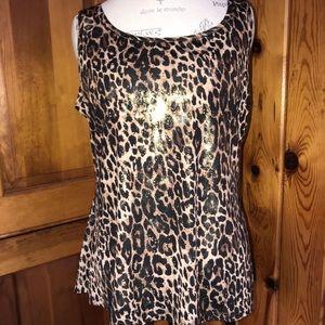 MSK Dressy top Reflective Sequins Leopard Print